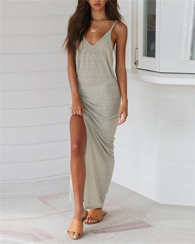 Fashion Solid Color Sexy Sling Dress