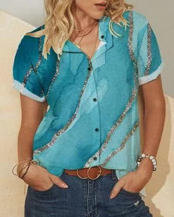 Print Short Sleeve Button Stand Collar Casual Blouse & Shirt