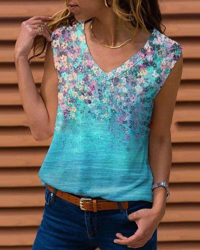 Women Cotton Casual Floral Printed V Neck Shift Tank Top