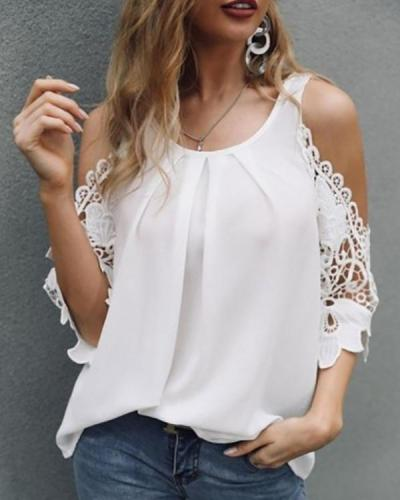 Women Off Shoulder Solid Color Shirt Blouse