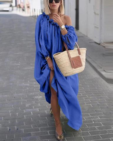 One Shoulder Street Elegant Women Fashion Maxi Dresses