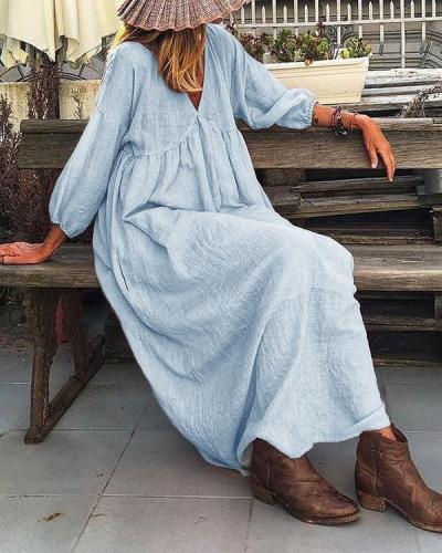 Solid Lantern Sleeve Loose Pleated V Neck Maxi Dress