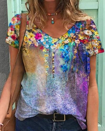 Colorful Flower Painting V Neck Short Sleeve Shirts & Tops