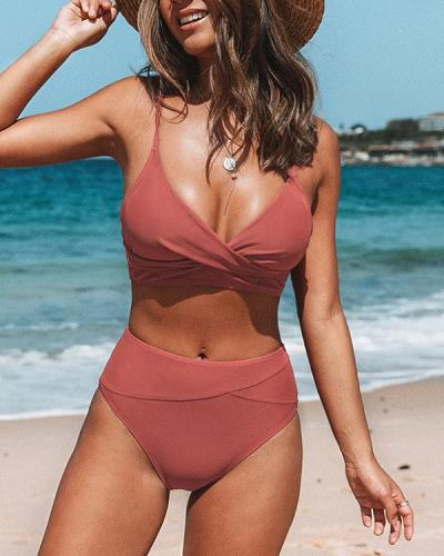 Orange twist high waist Bikini Set