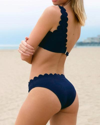 Wavy Edge One Shoulder Bikini Set