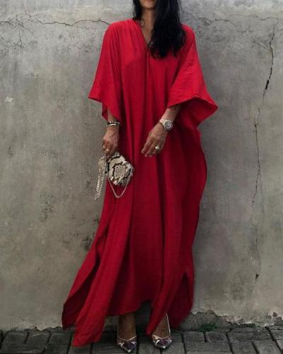 Red 3/4 Sleeve V Neck Plain Color Cover-up Dresses