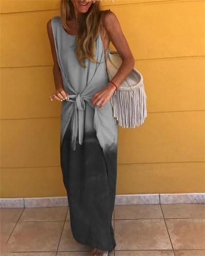 Sleeveless Gradient Round Neck Holiday Daily Fashion Maxi Dresses