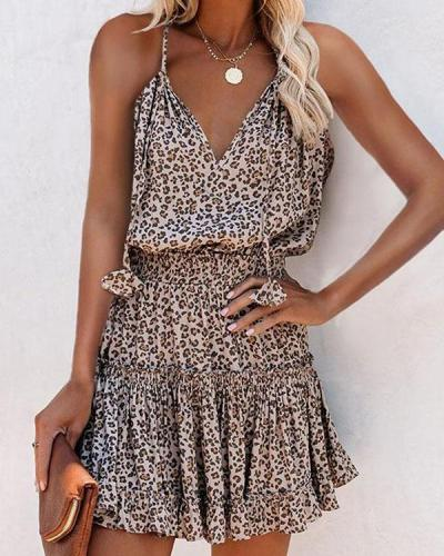 V-neck Print Spaghetti Strap Sexy High Waist Mini Dress