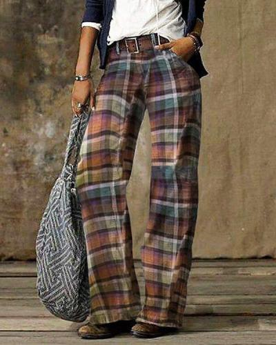 Vintage Color Block Plaid Print Pocket Woman Pant Bottom