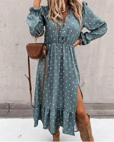Women Print V Neck Party Dress Spring Summer Elegant Dress