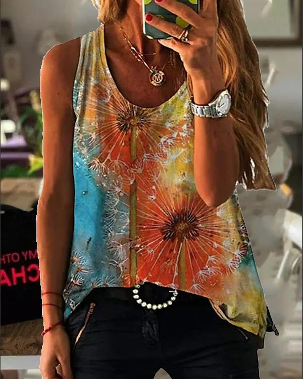 Round Neck Sleeveless Vintage Print Tank Tops