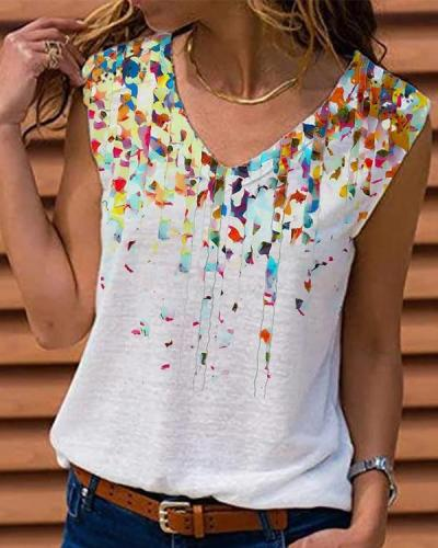 Women Cotton Casual Abstract Printed V Neck Shift Tank Top