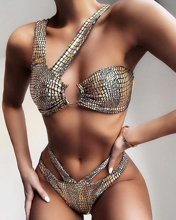 Metallic Crocodile Ring Linked High Cut Bikini Swimsuit