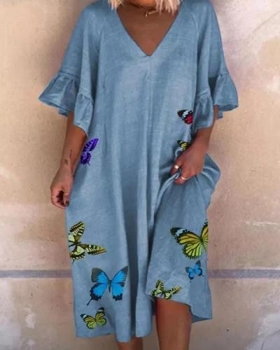 Casual Animal Tunic V-Neckline A-line Dress