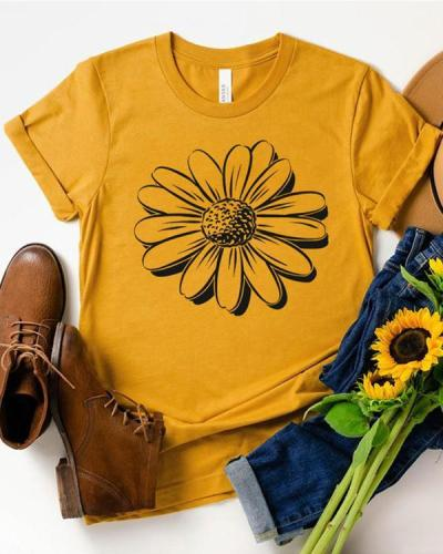 Women Sunflower Print Casual T-shirts