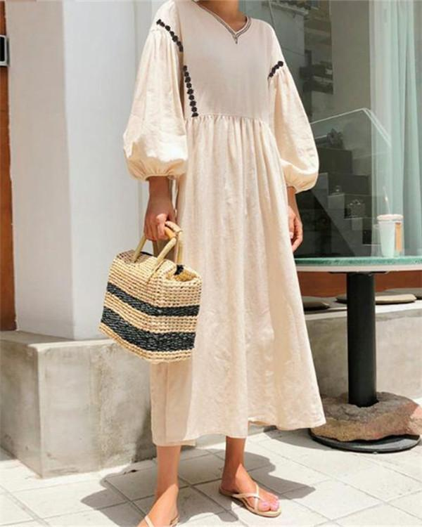 Vintage Casual Solid V Neck Woman Loose Maxi Dresses