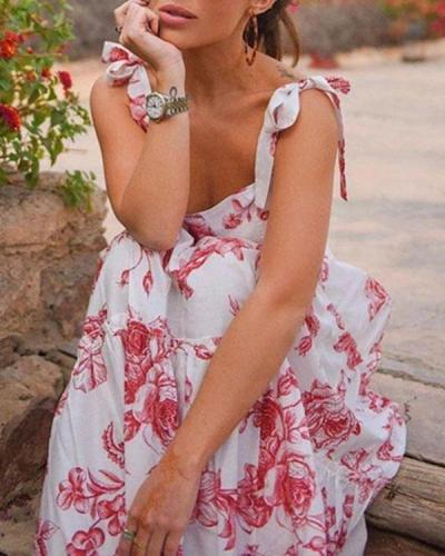 Women Charming Floral Summer Vacation Dress