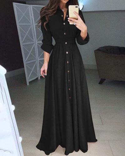 Casual Slim Long Sleeve Maxi Dresses