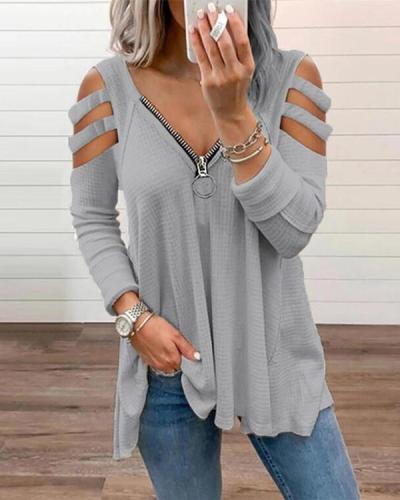 Off Shoulder Chic Zipper V-Neck Long Sleeve Blouse