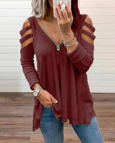 Off Shoulder Chic Zipper V-Neck Long Sleeve Blouse