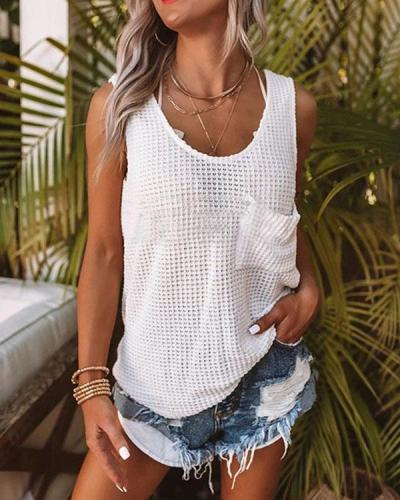Sleeveless Knitted Pocket T-shirt Fashion Vests