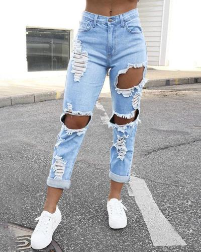 Women Hollow out Ripped Casual Denim Pants