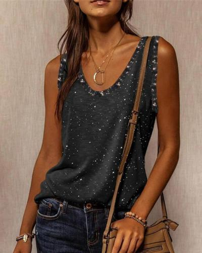 Sleeveless V-neck T-shirt Fashion Vests
