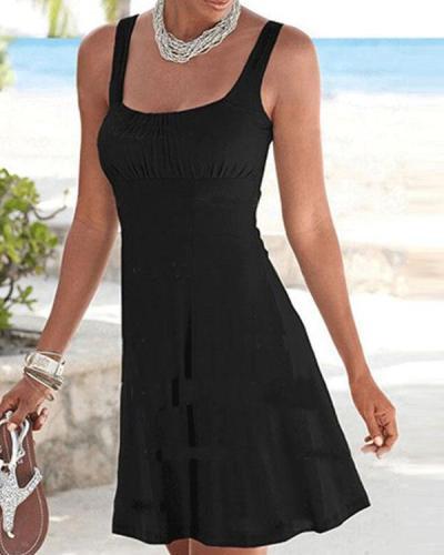 Solid Sexy A-Line Beach Dress