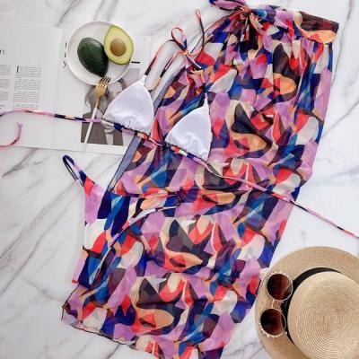 3pack Allover Graphic Triangle Bikini Swimsuit