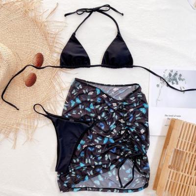 Butterfly Sarong Sliding Bikini Swimsuit 3 Piece set