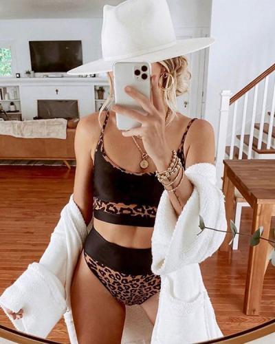 Leopard Print Contrast High Waist Bikini