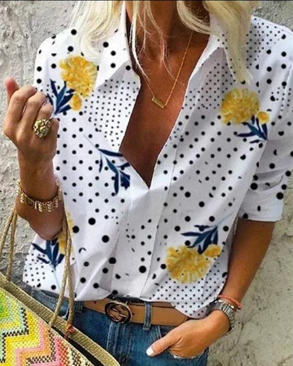 Floral Print Casual Collar 3/4 Sleeves Blouses