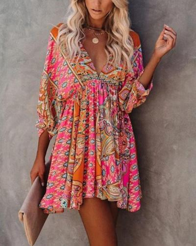 Women's Boho Double V Neck Lace up Highwaist Dress
