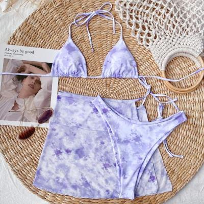 Tie-Dye Sarong Sliding Bikini Swimsuit 3 Piece set