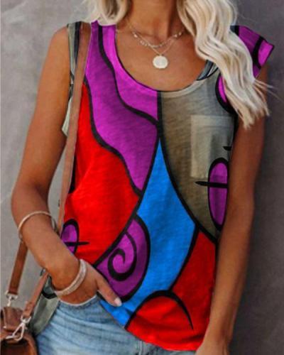 Crew Neck Abstract Face Print Sleeveless T-shirt