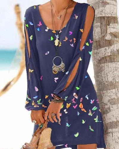 Butterfly Print Cold Shoulder Long Sleeve Casual Vacation Dresses