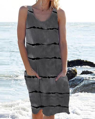 Women Stripe Pockets Casual Mini Dress
