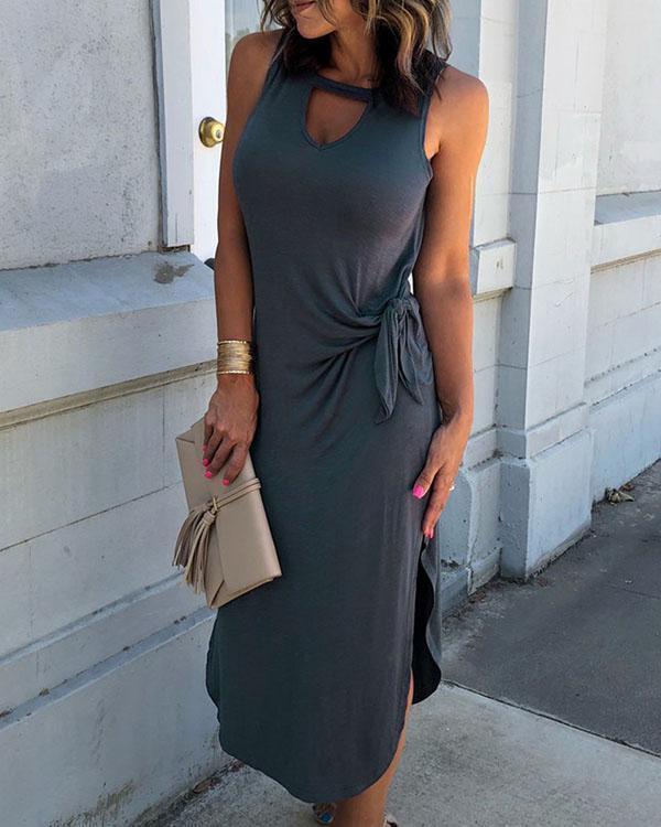 Women's Sleeveless Sexy Lace up Slit Midi Dress
