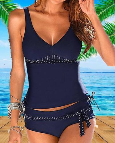Dot Strap V-Neck Sexy Plus Size Tankinis Swimsuits