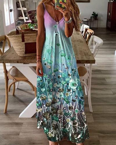 Women's Sexy Multicolor Painting Summer Maxi Dress