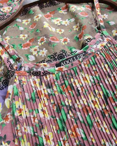 Spaghetti Strap Linen Cotton Holiday Floral Dress
