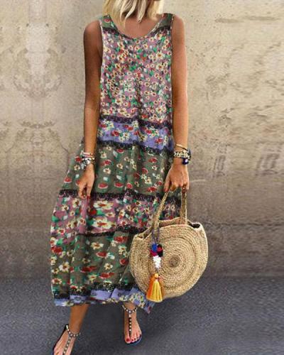 Comfy Breathable Linen Cotton Floral Bud Dress