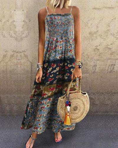 Spaghetti Strap Linen Cotton Holiday Floral Dress