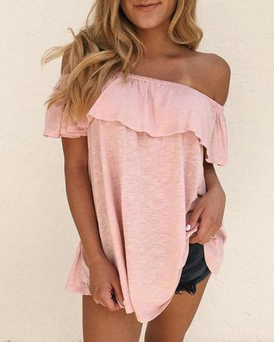 Women Cotton Solid Off Shoulder Ruffle Blouses