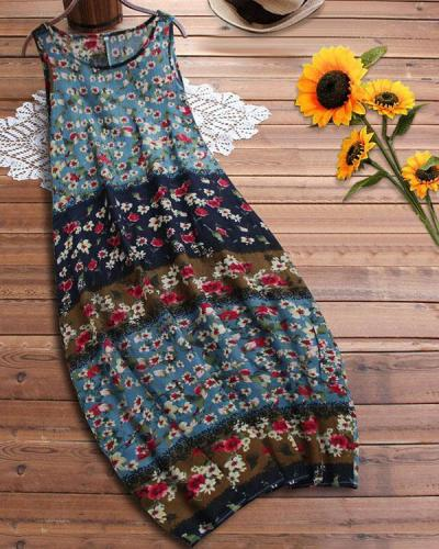 Comfy Breathable Linen Cotton Floral Bud Dress