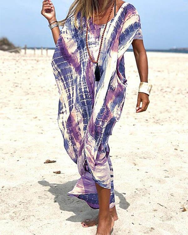 Tie Dye Plunging Neckline Loose Beach Dress Cover Up