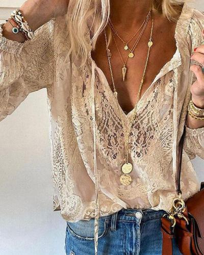 Lace Crochet Transparent Bohemian Long Sleeve Blouse