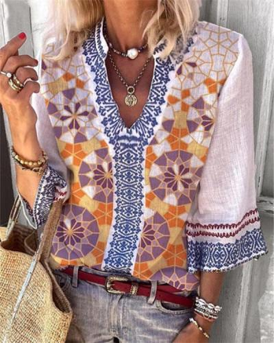 Bohemian 3/4 Sleeve Geometric Blouse