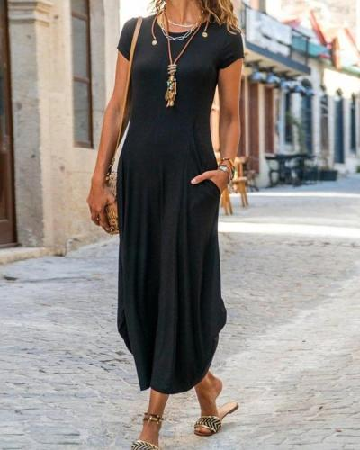 Casual Short Sleeve Crew Neck Plain A-Line Dresses