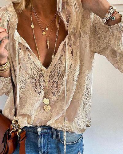 Lace Crochet Transparent Bohemian Long Sleeve Blouse